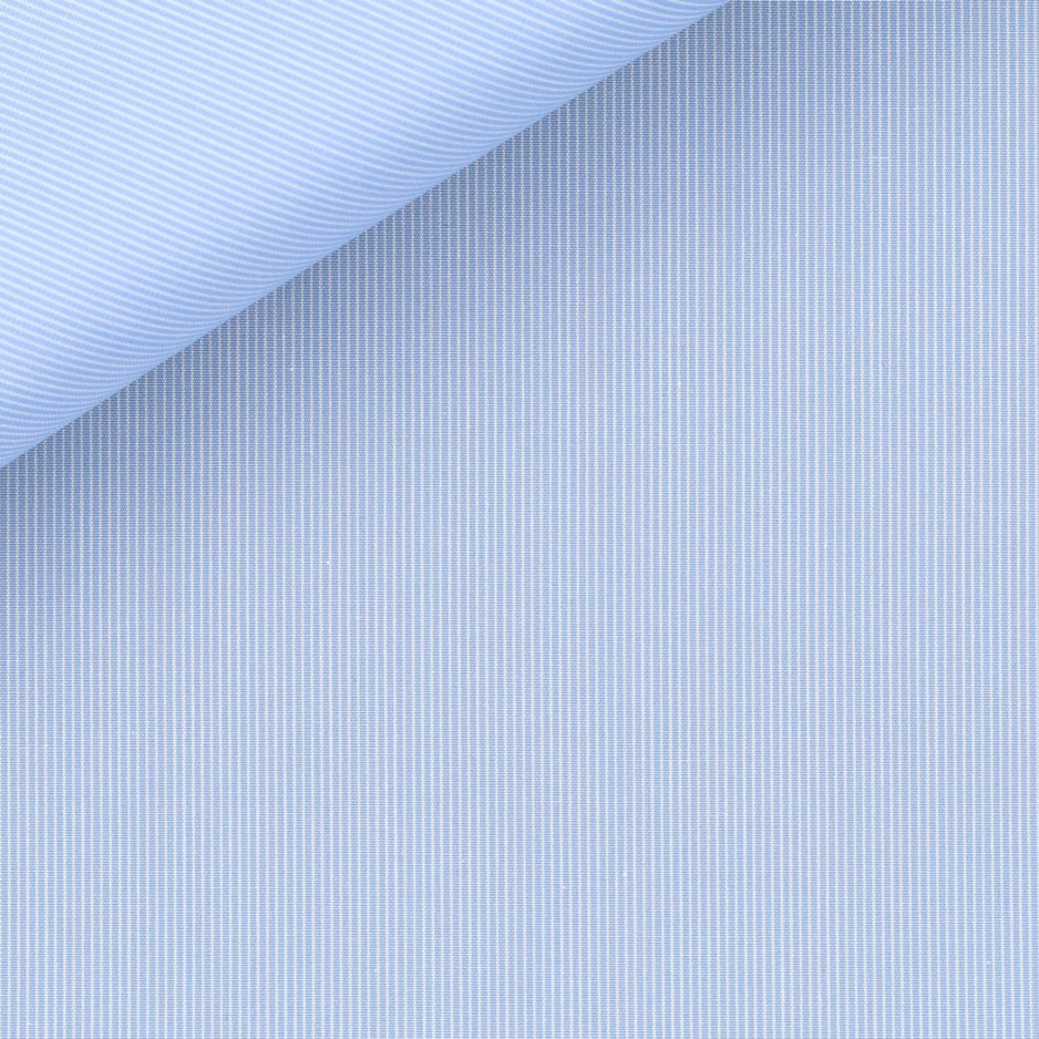 Popeline Rayé Bleu