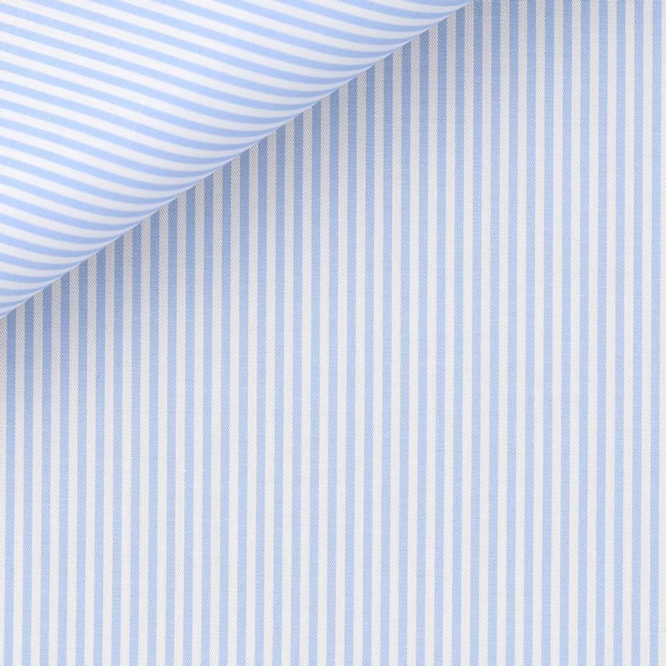 Twill Rayé Bleu (repassage facile)