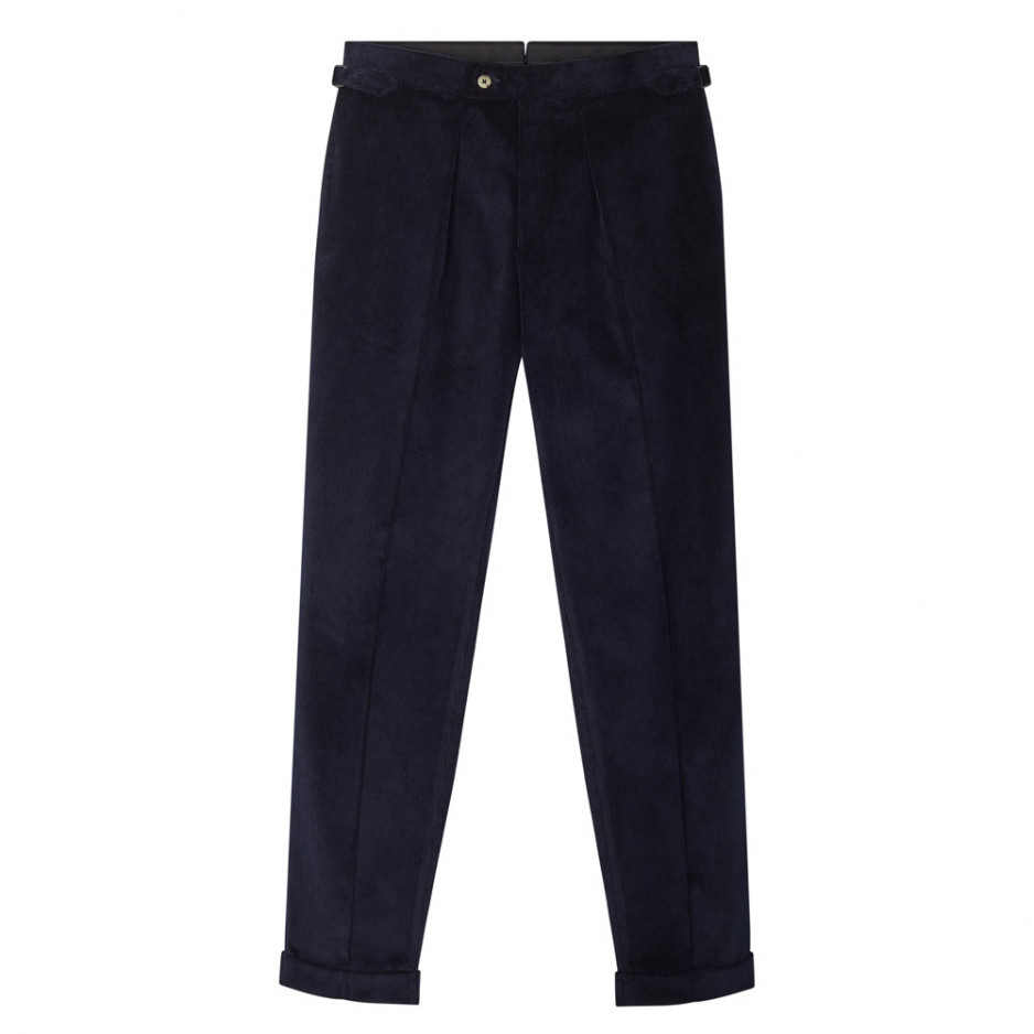 Pantalon velours cotelé marine
