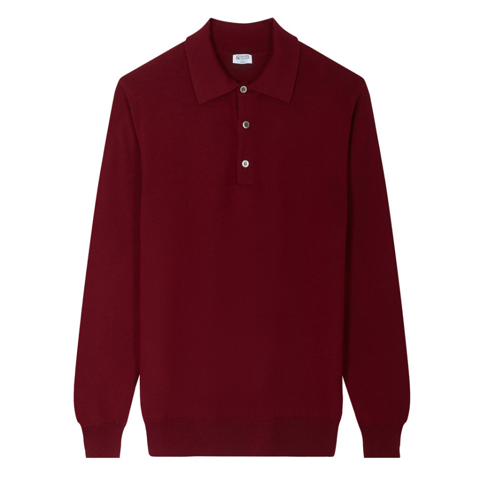 Pull Bordeaux Col Polo