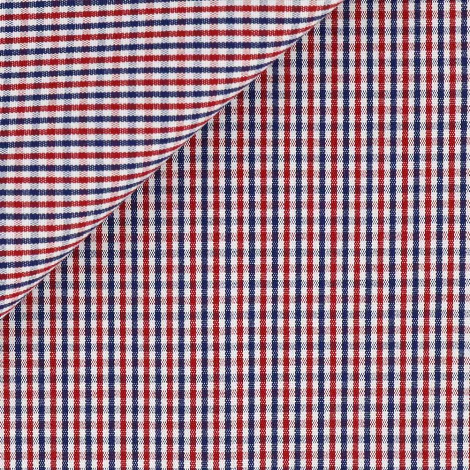 Popeline Carreaux Bleu Rouge