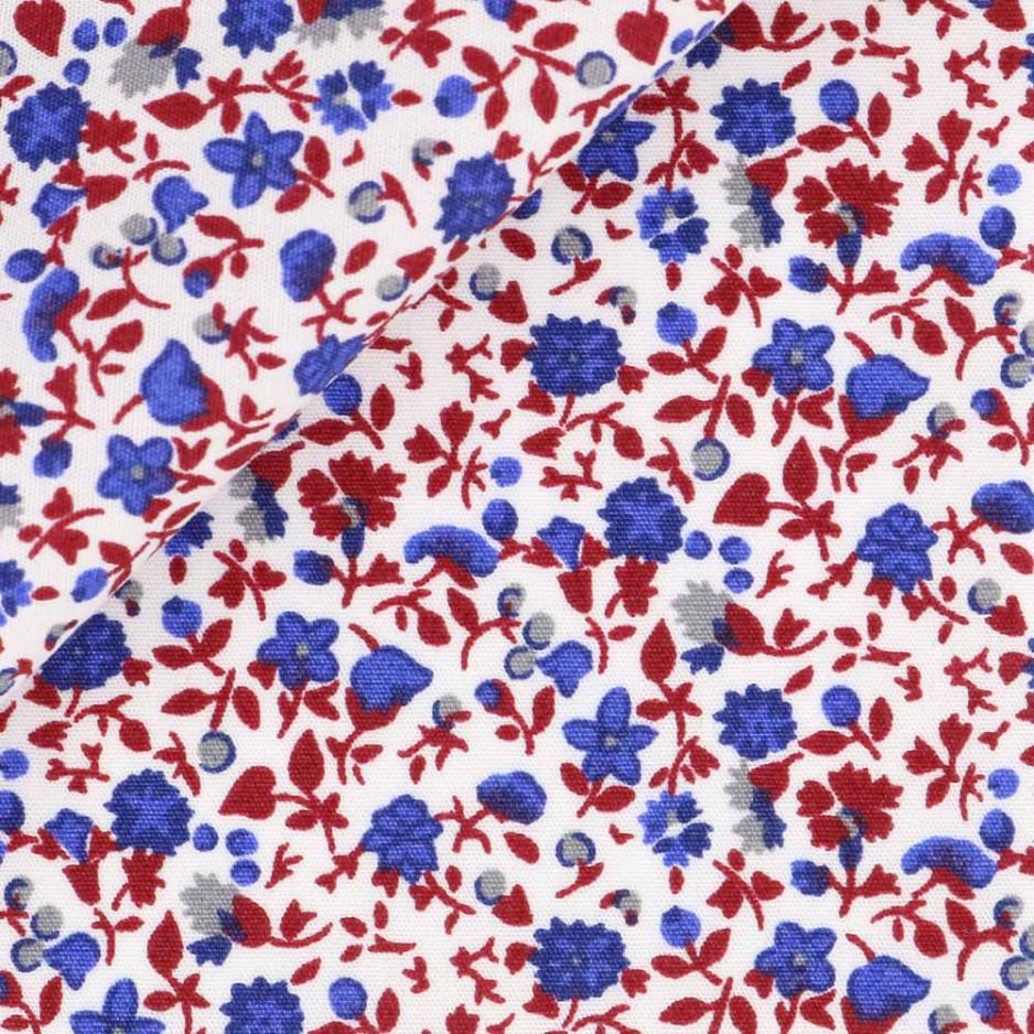Popeline Motif Bleu Rouge