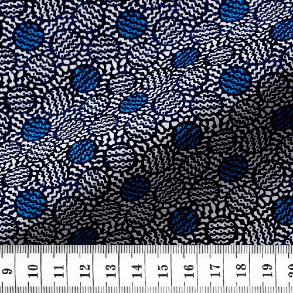 Popeline Motif Bleu Noir