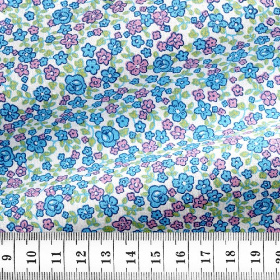Coton Motif Bleu Rose