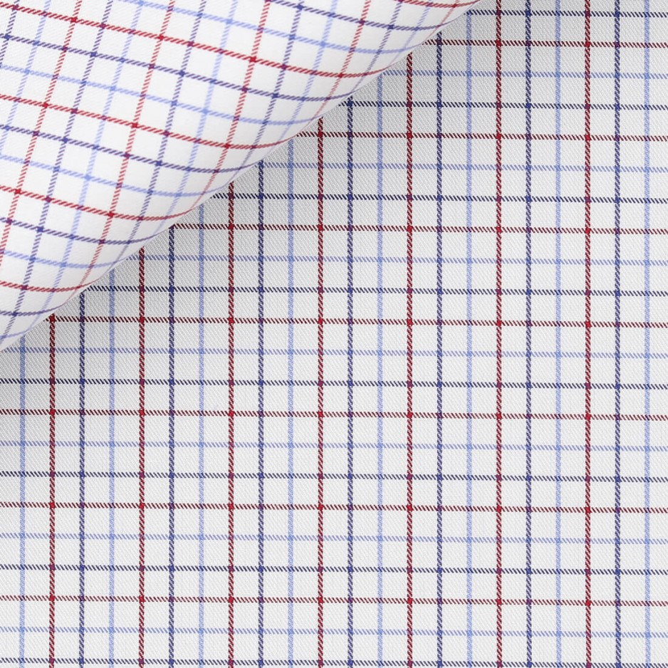 Twill Carreaux Bleu Rouge