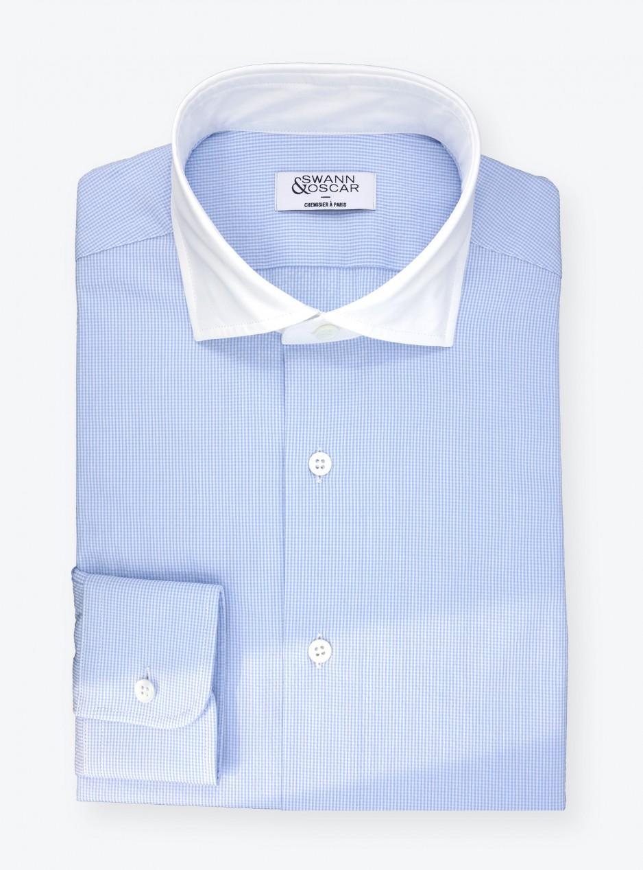 Chemise Seersucker Carreaux Bleu