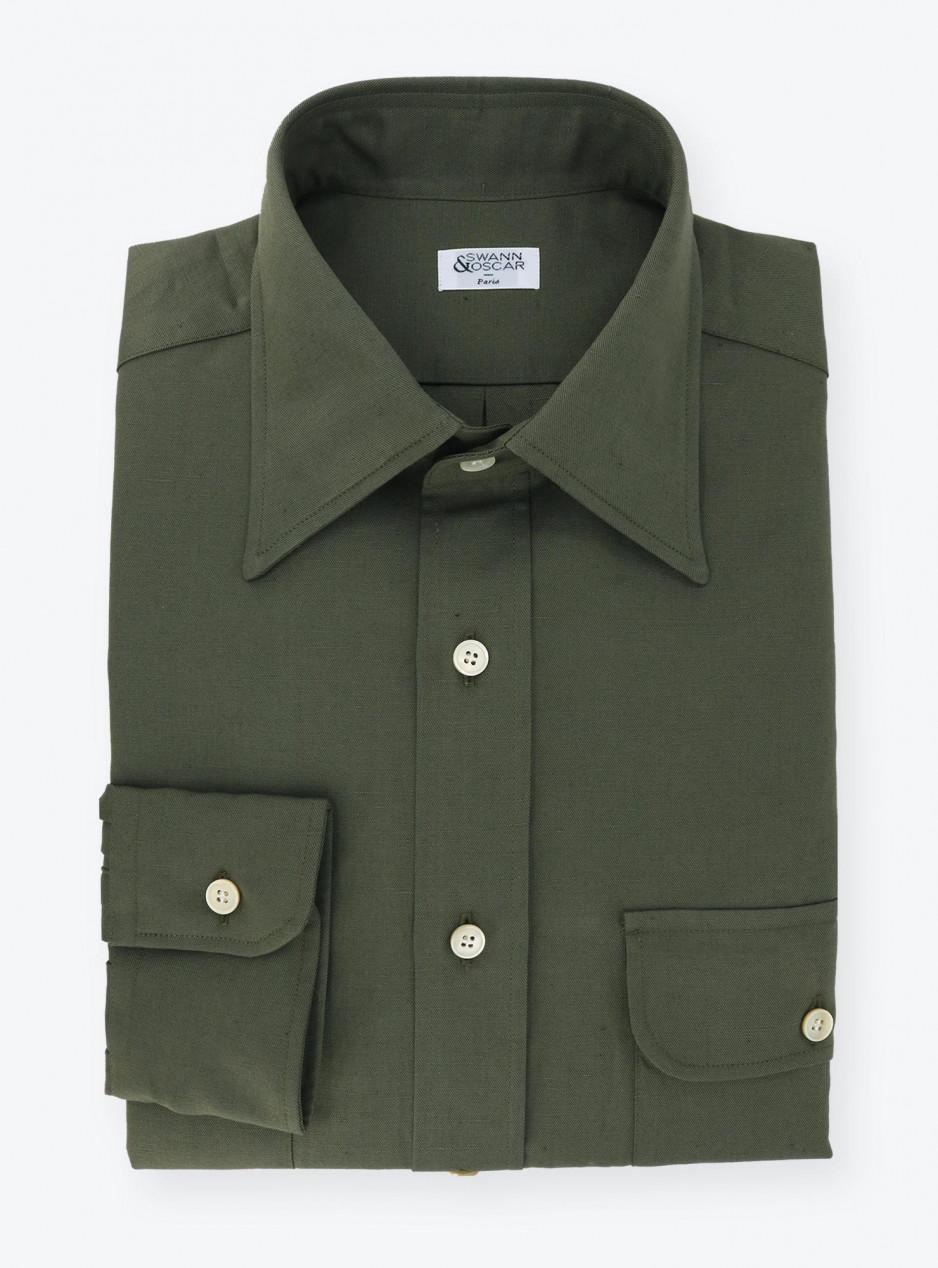 Chemise Coton / Lin Uni Vert