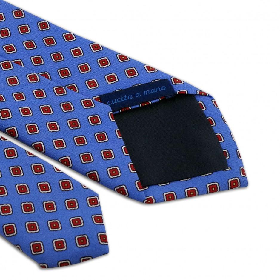Cravate Bleue Motifs Fleurs Rouge