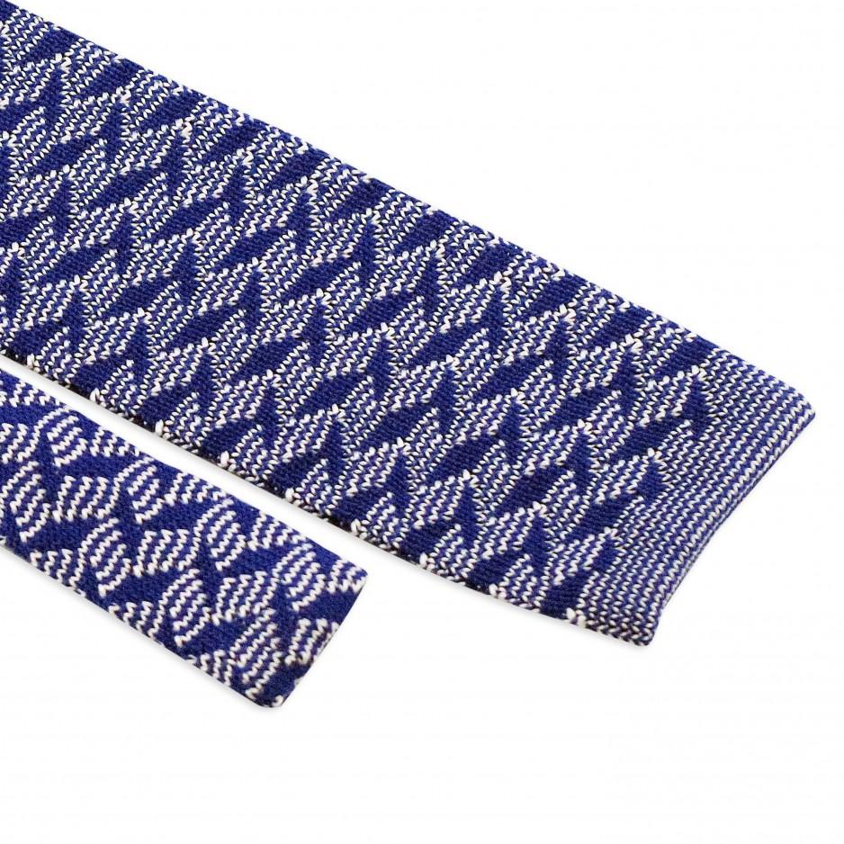 Cravate Bleue Motifs Zigzag