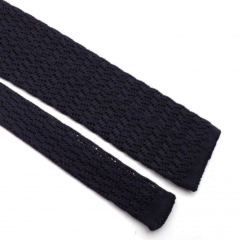 Cravate Bleue Grenadine de Soie - Knitted Zig Zag