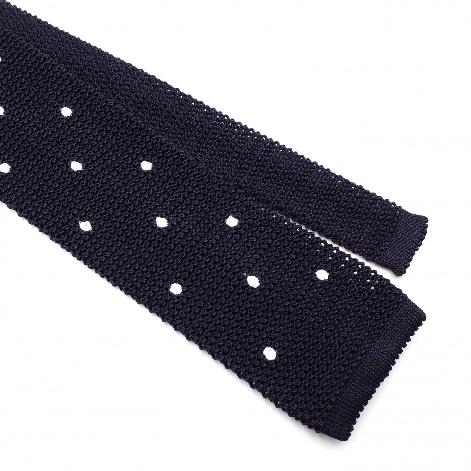 Cravate Bleue Grenadine de Soie « Knit Tie »