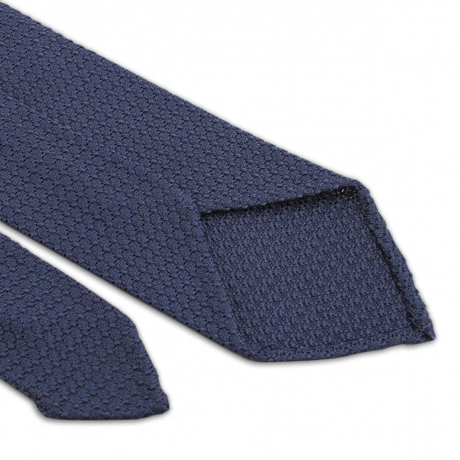Cravate Bleue Grise Grenadine de Soie