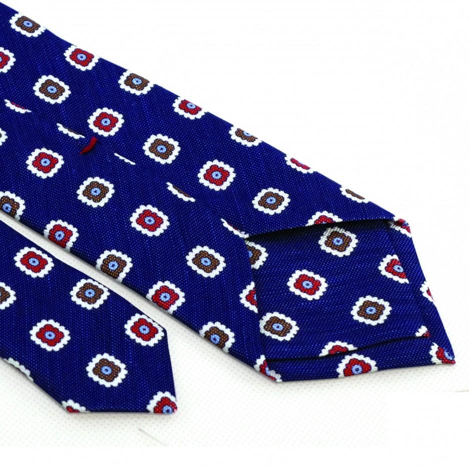 Cravate Bleue Motifs Fleurs Rouge Marron