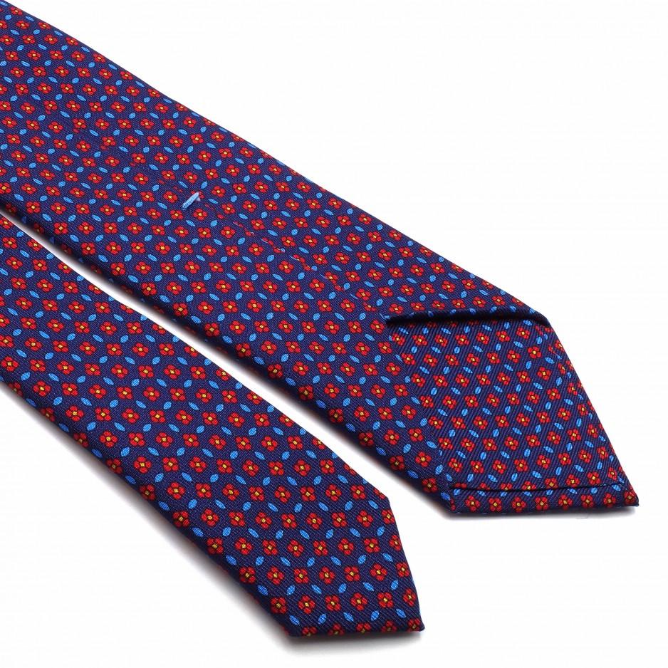 Cravate Bleue Navy en Soie Imprimée