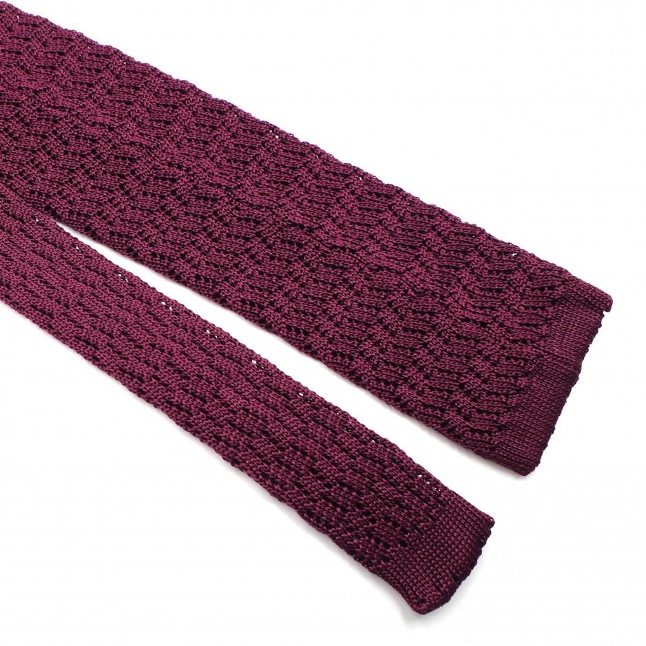 Cravate Bordeaux Soie - Knitted Zig Zag