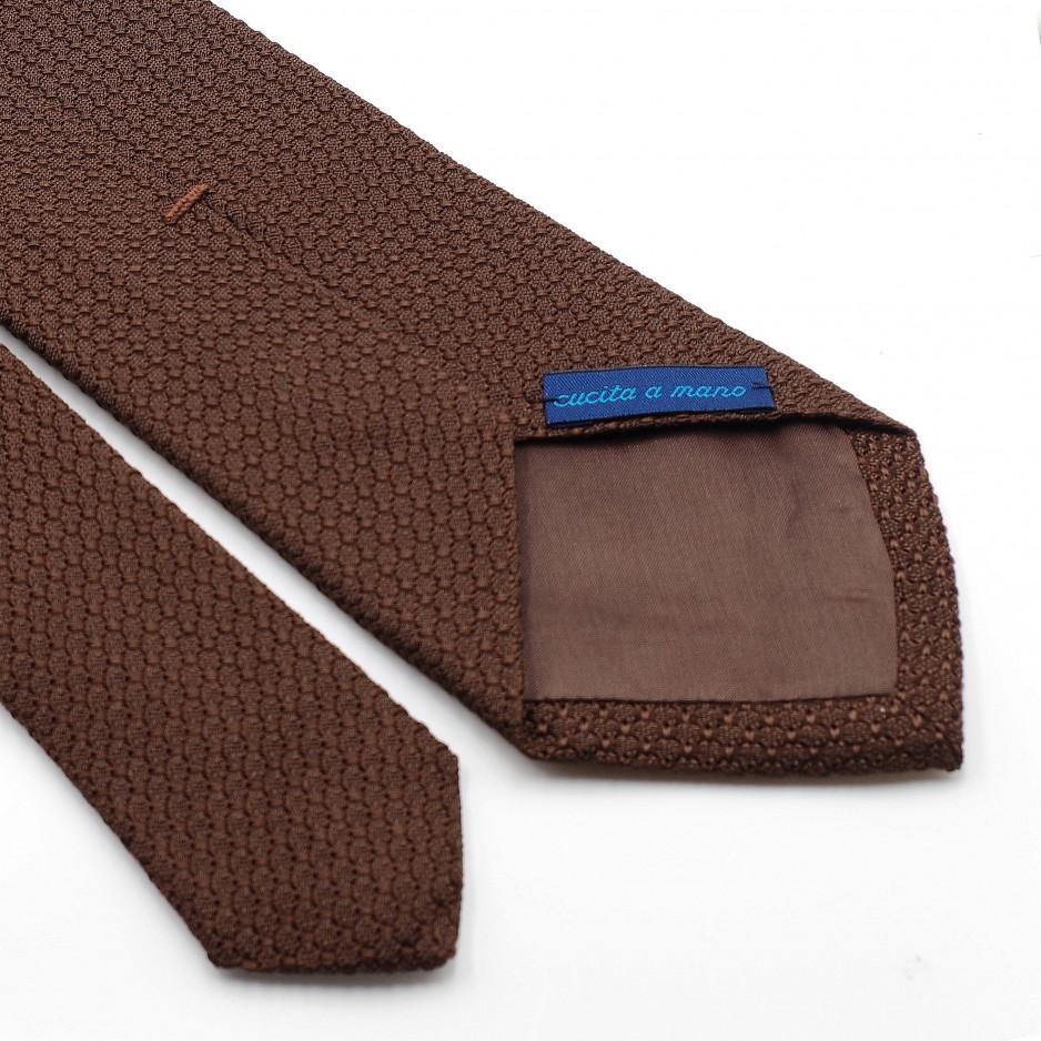 Cravate Marron Grenadine de Soie « Garza Grossa»