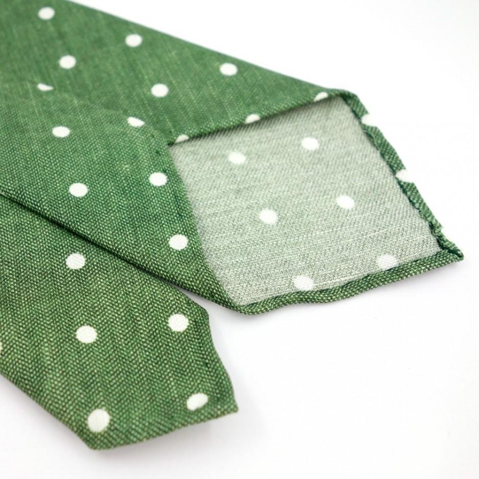 Cravate non doublée verte à pois