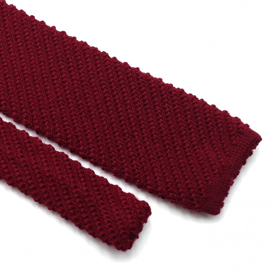 Cravate Tricot Laine Bordeaux