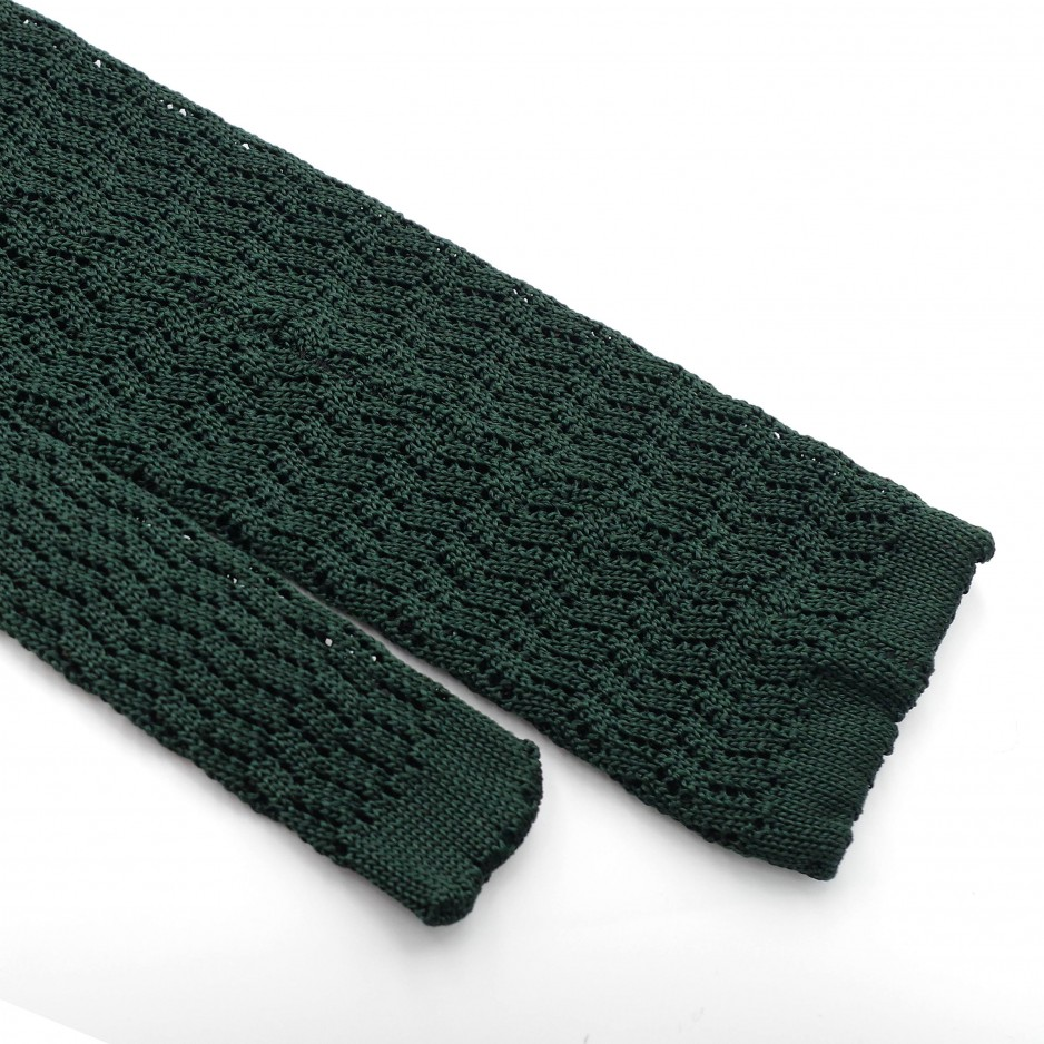 Cravate Verte Grenadine de Soie - Knitted Zig Zag
