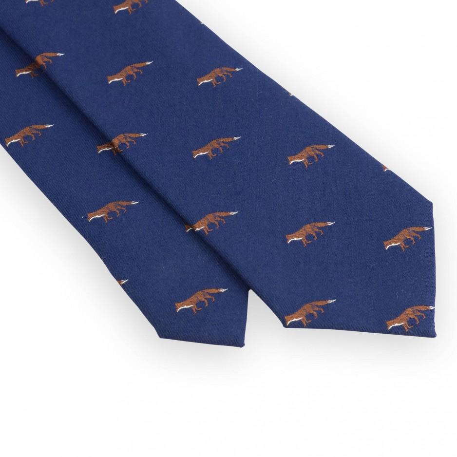 Cravate laine et soie bleue motifs chasse renard