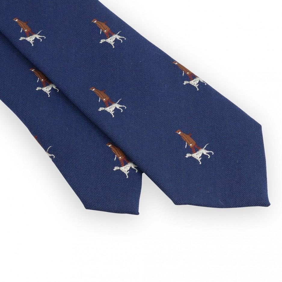 Cravate marine motifs chasseur