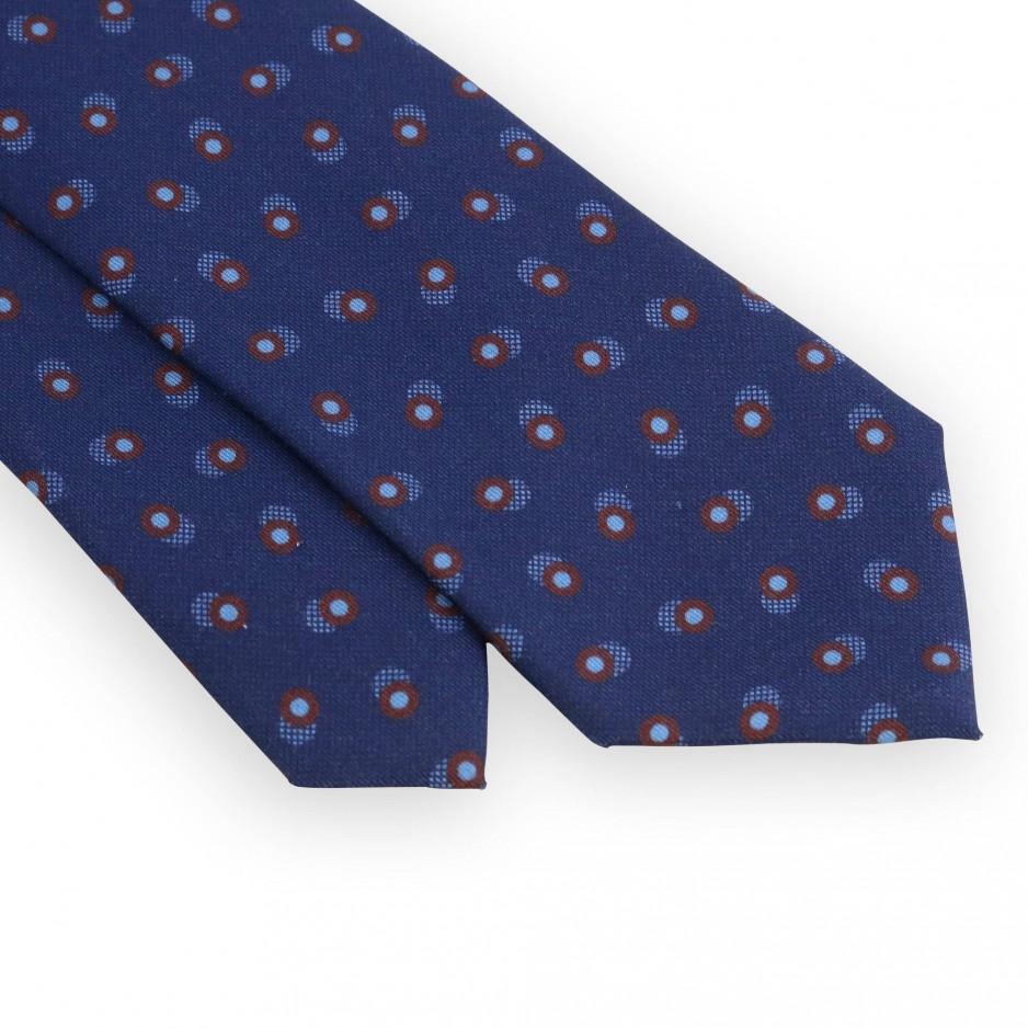 Cravate marine pois turquoises et bordeaux