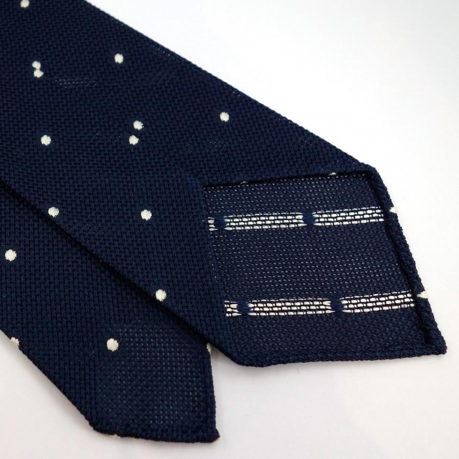 Cravate en grenadine de soie à pois blancs