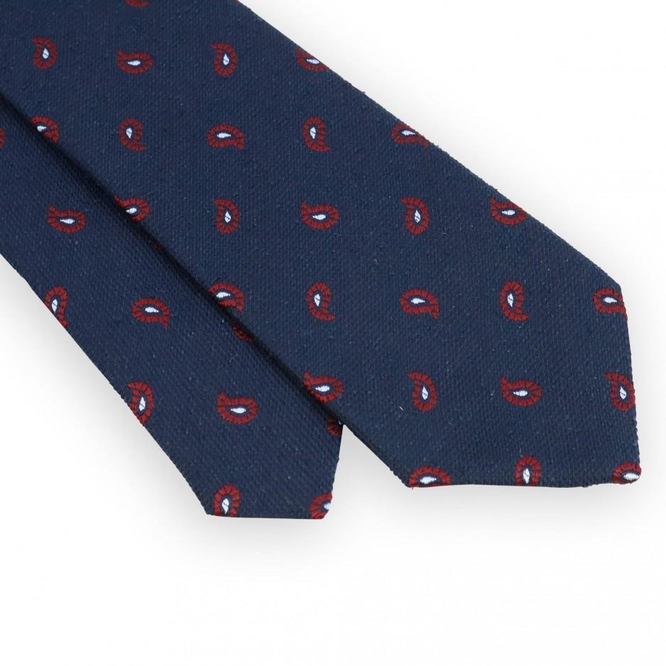 Cravate soie marine motif cachemire rouge