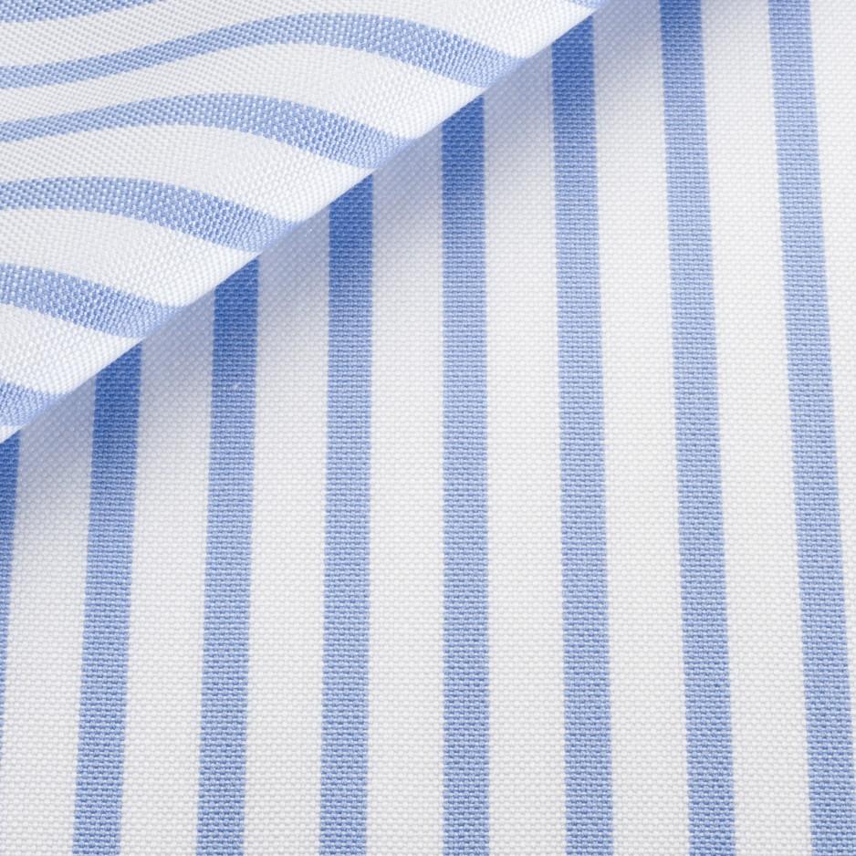 Tissu Pin Point Rayé Bleu