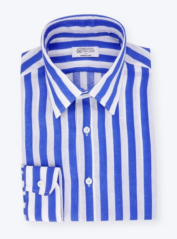Chemise Butcher Stripes Lin Bleu