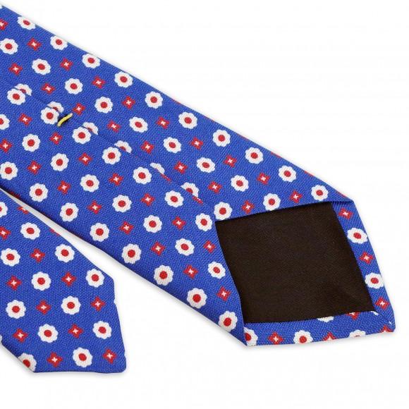 Cravate Bleue Motifs Fleurs Blanche Pois Rouge