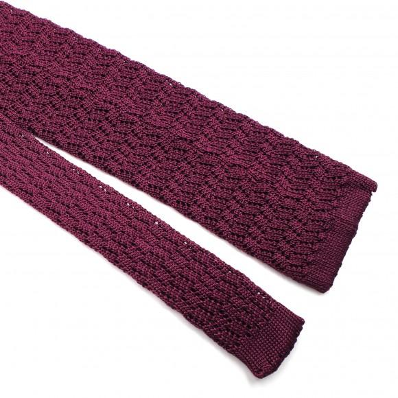 Cravate Bordeaux Grenadine de Soie - Knitted Zig Zag