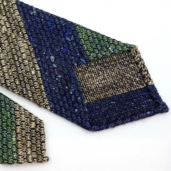 Cravate en soie shantung club tricolore