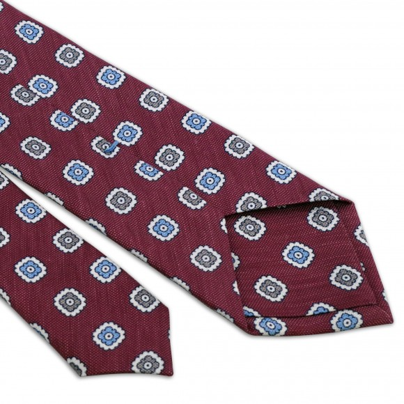 Cravate Framboise Motifs Fleurs Gris Bleu