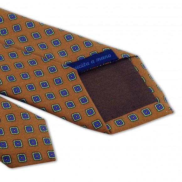 Cravate Jaune Orange Motifs Fleurs Bleu