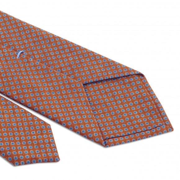Cravate Orange Motifs Points Bleu