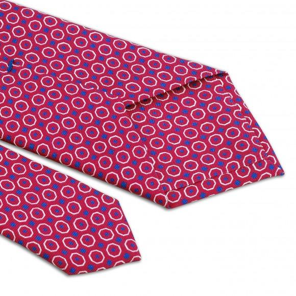 Cravate Rose Motifs Blanc Bleu