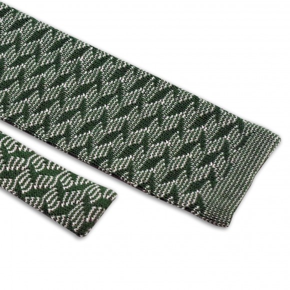 Cravate Verte Motifs Zigzag