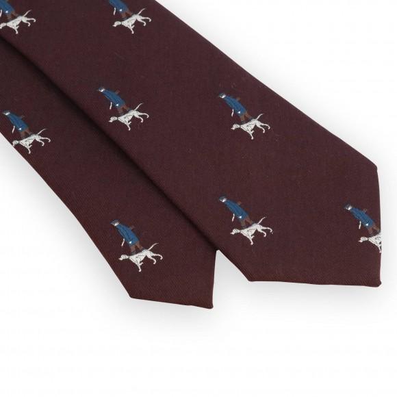Cravate bordeaux motifs chasseur