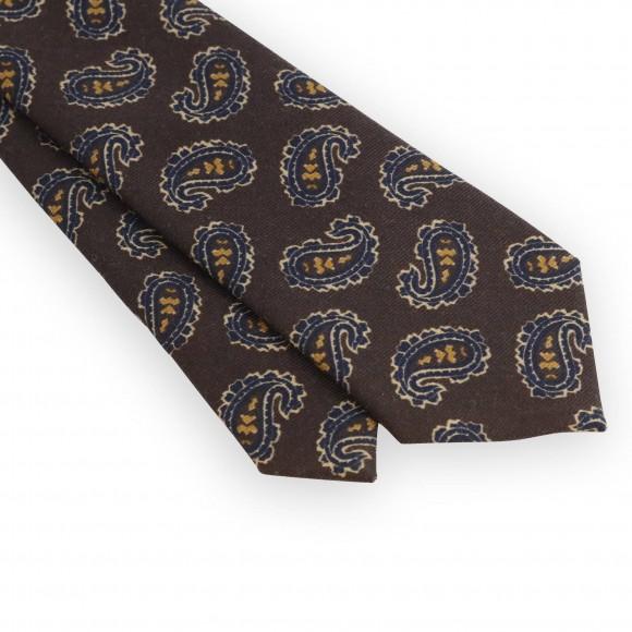 Cravate motifs cachemire marron