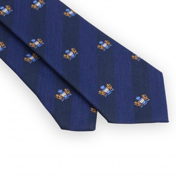 Cravate club marine et bleu blason doré
