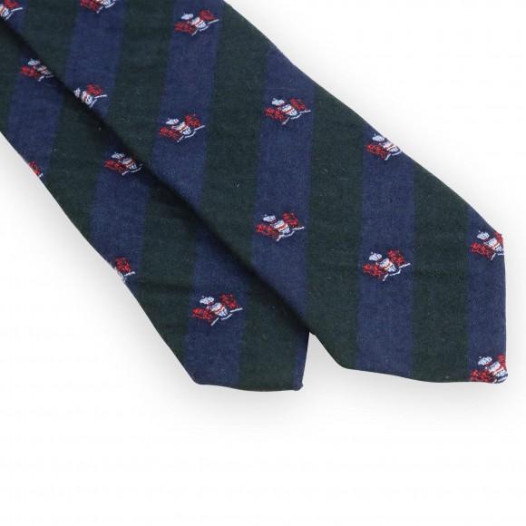 Cravate club verte et marine blason rouge