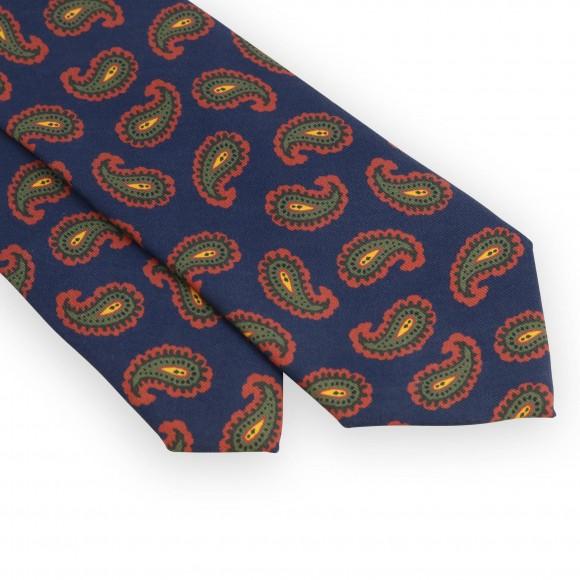 Cravate marine motifs cachemire rouge et vert