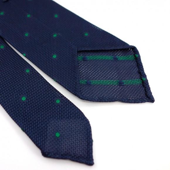 Cravate en grenadine de soie à pois verts