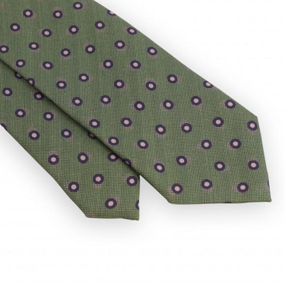 Cravate vert clair pois violets et beiges
