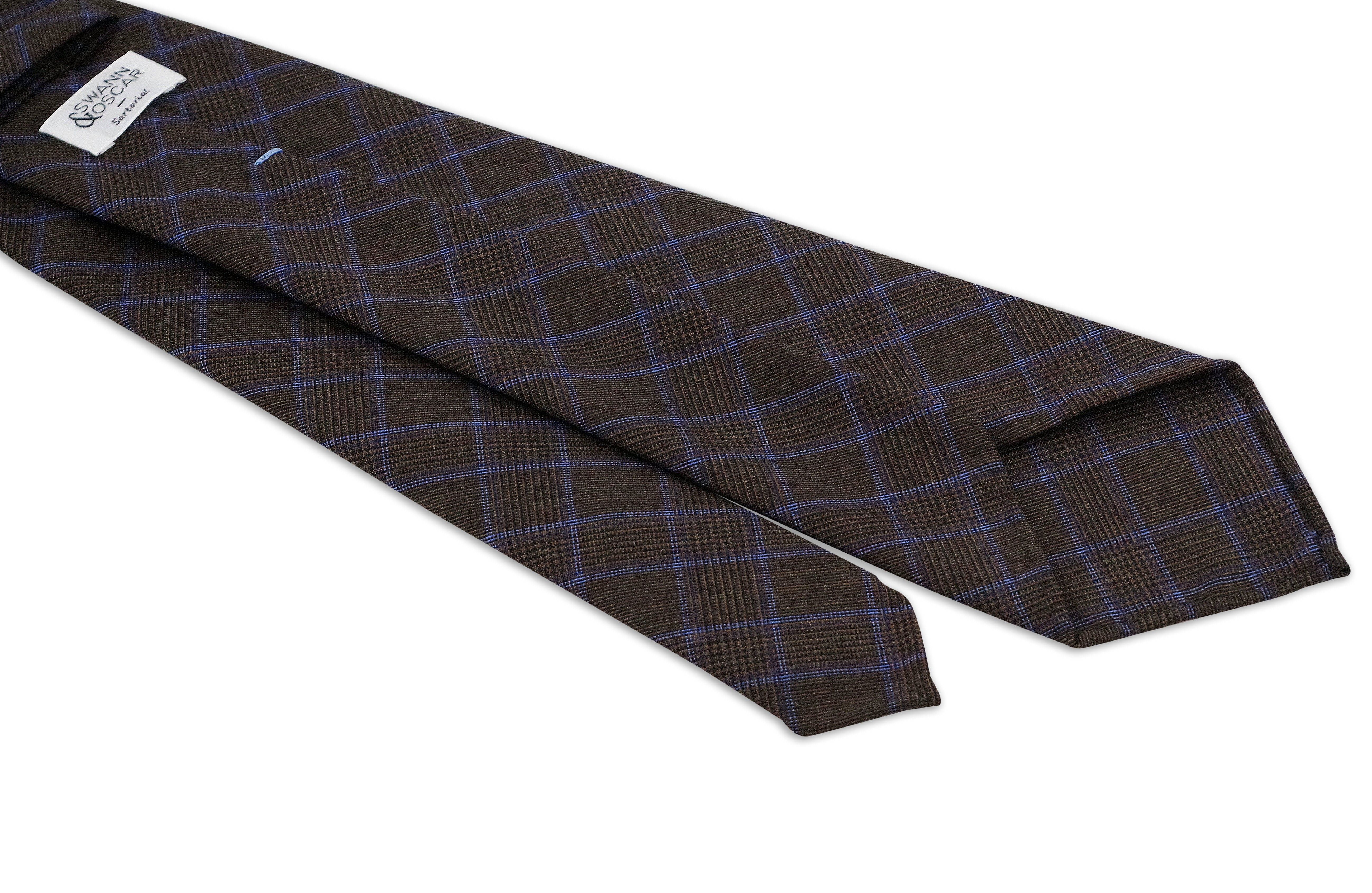 cravate marron rayures bleu luxe cravates accessoires swann oscar. Black Bedroom Furniture Sets. Home Design Ideas