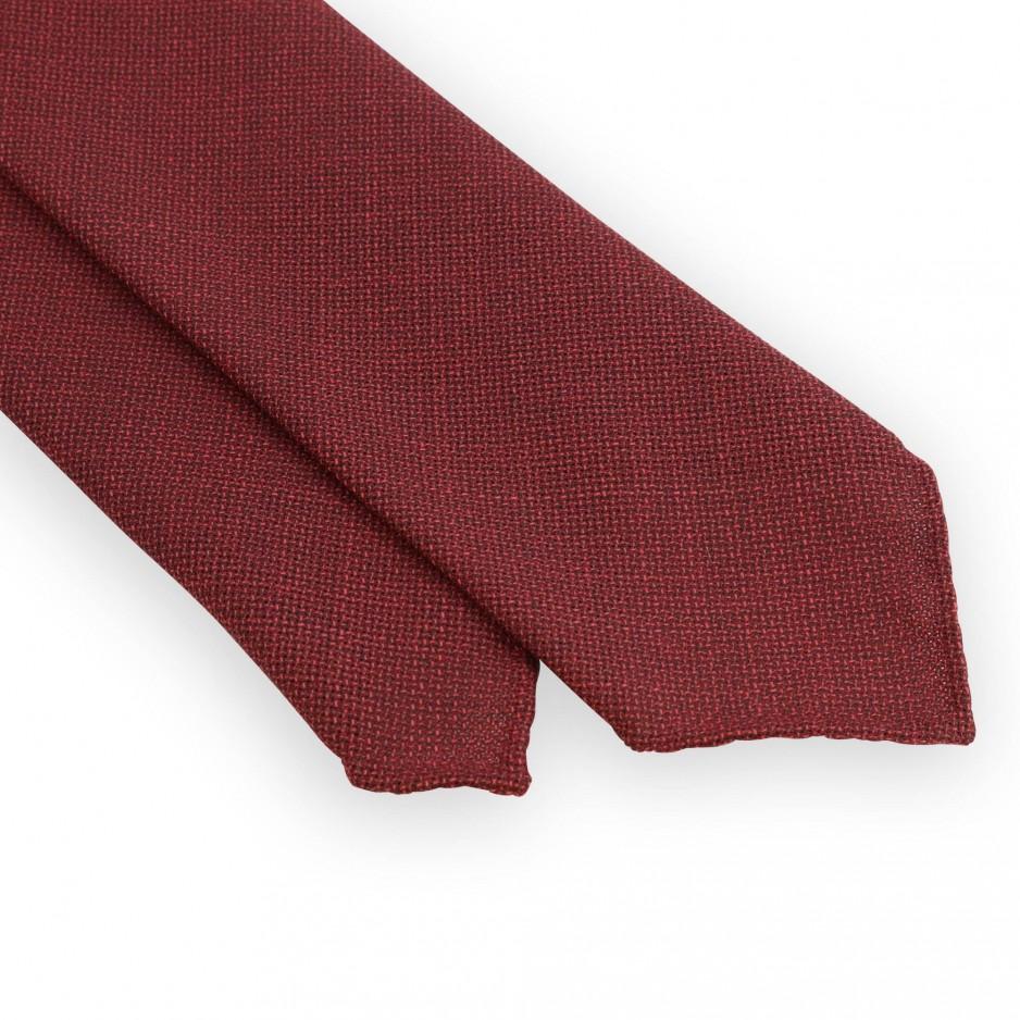 Cravate laine rouge non doublée