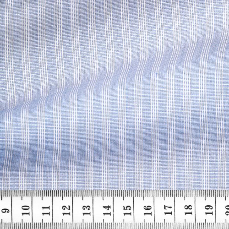 Tissu fil à fil rayé bleu