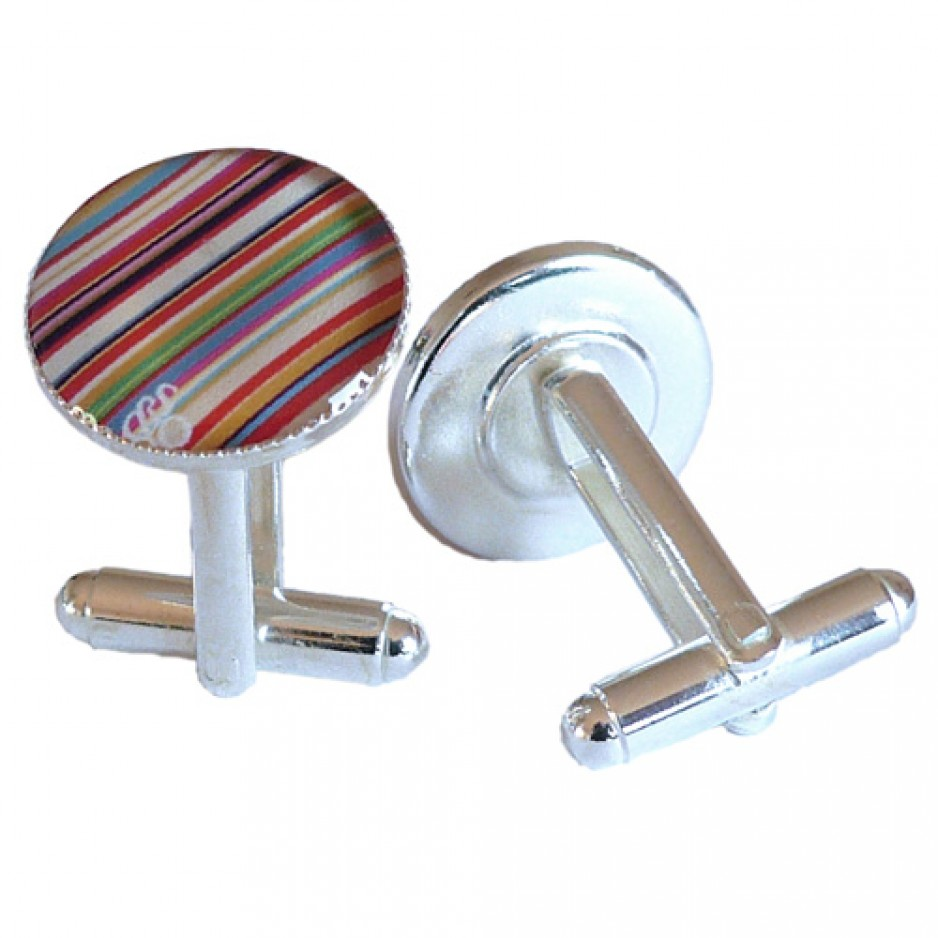 Boutons Manchette Rayures Multicolore