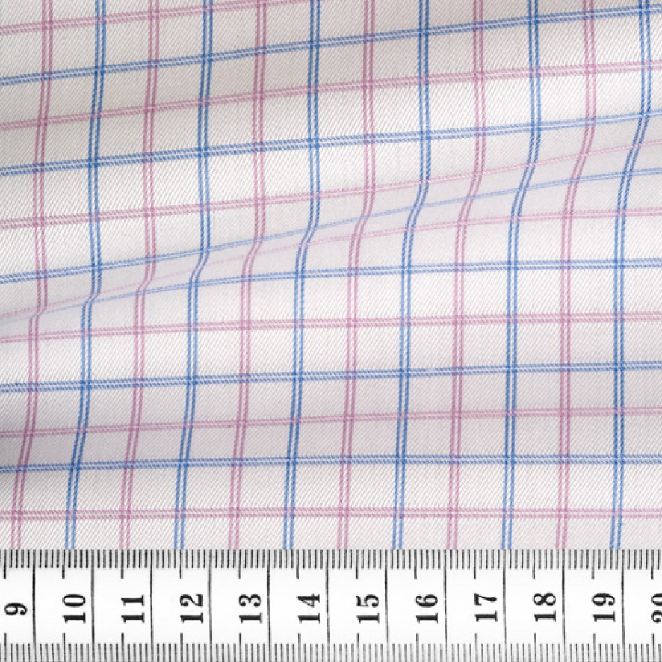 Twill Carreaux Rose Bleu